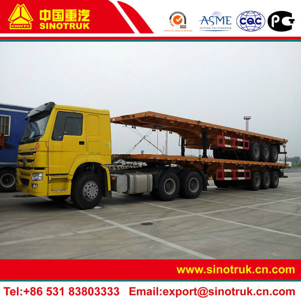 40ft tri axle container chassis trailer with HOWO tractor head